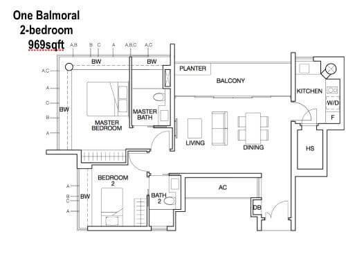 One Balmoral Floor Plan 2-Bedroom 969sqft