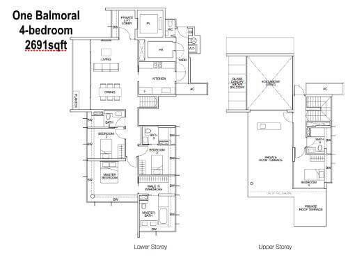 One Balmoral Floor Plan 4-Bedroom 2691sqft