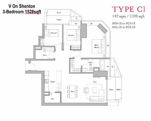 V On Shenton Floor Plan 3br 1528sqft