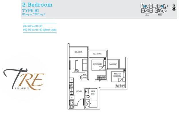 Tre Residences 2br 570sqft