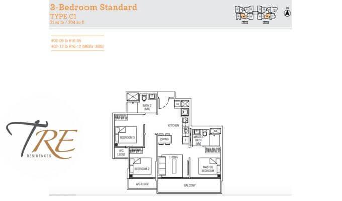 Tre Residences 3br 764sqft