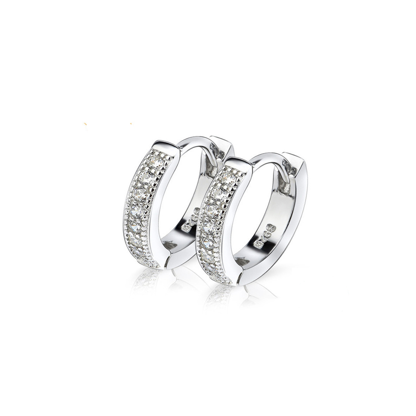 Small Hoop Silver Earrings 925 Sterling Silver Wide Huggie