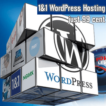 1&1 WordPress Hosting just 99 cent + 01 domain free