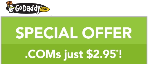 Get a .COM domain only $2.95 at Godaddy