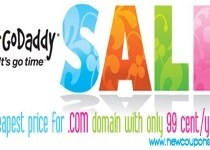 GoDaddy 99 cent .Com domain coupon in January 2017