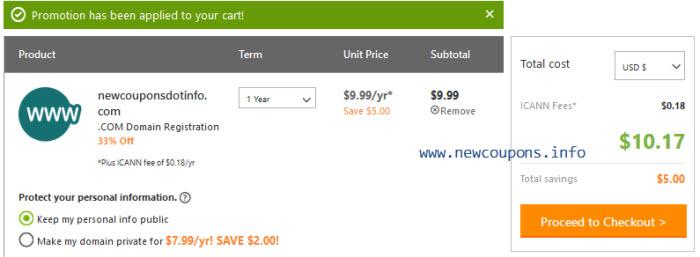 Godaddy .Com Coupon for save 33% off