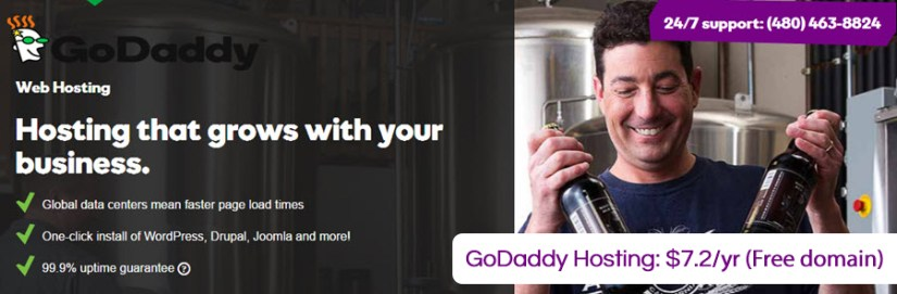 GoDaddy hosting promo code for Only $7.2/yr (free domain)