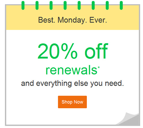 godaddy 20 percent off renewals