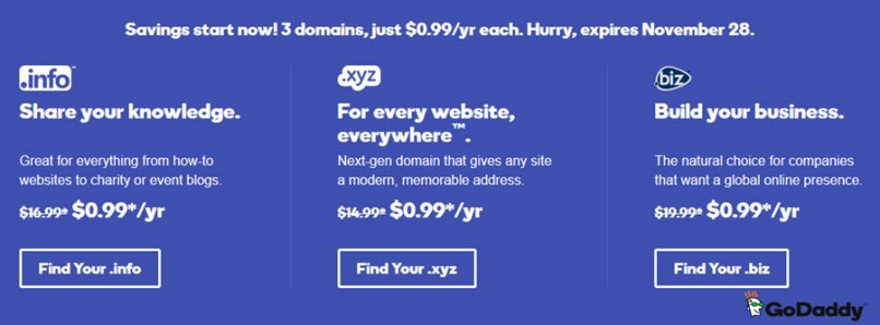 GoDaddy Promotion - .Biz/.Info/.Xyz for just $.99/yr/each