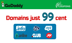 2 Days Only! Register a domain for just $.99/1st year at GoDaddy
