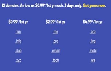 godaddy $0.99 domain flash sale