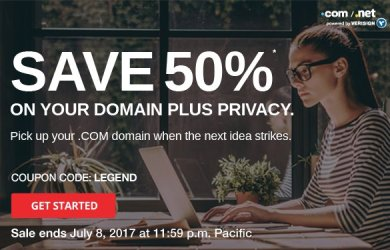 50% off domain com registration privacy