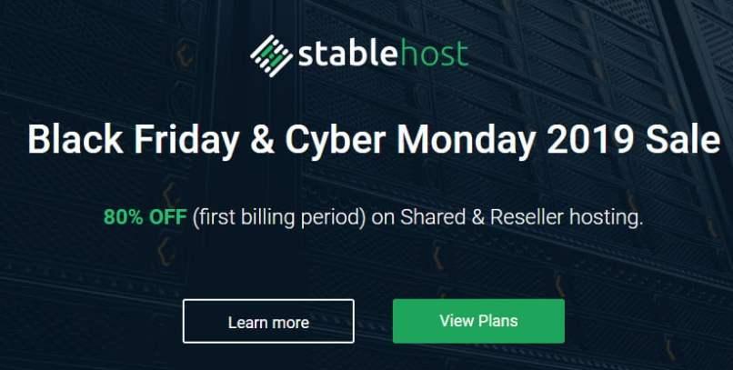 StableHost Black Friday 2019 Sale - Up to 80% Off Web Hosting & Reseller
