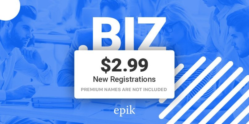 Epik - Register Unlimited .BIZ Domains For $2.99 Each