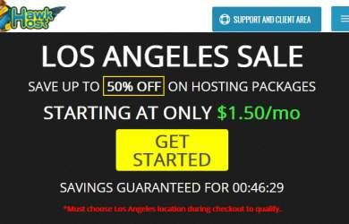 hawkhost los angeles sale 50% recurring discount