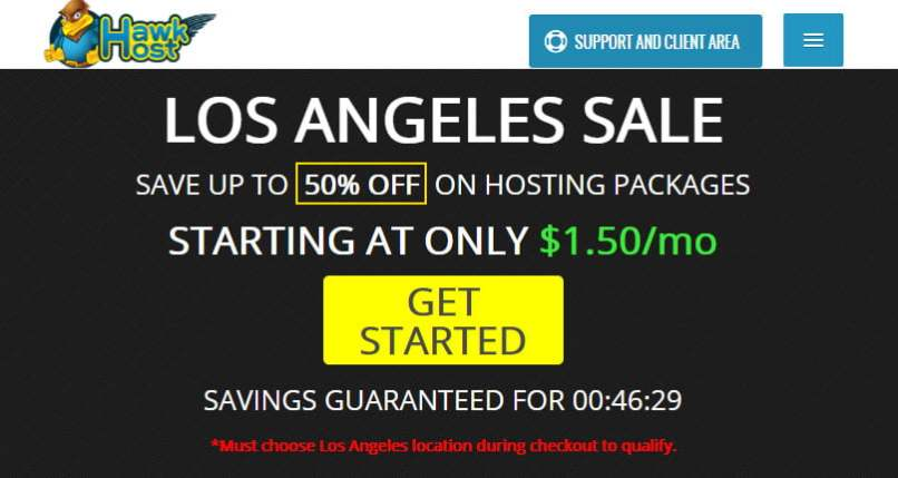 HawkHost Los Angeles Sale - Save 50% - From $1.50/Mo