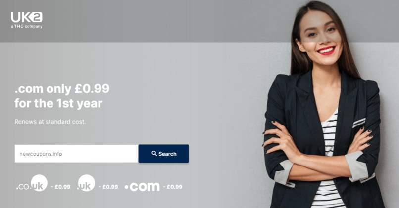£0.99 .COM Registration At UK2 - Free Domain Privacy