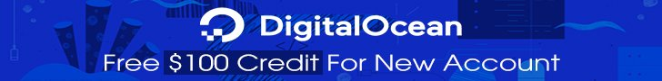 Create a new account and get $100 free credit at DigitalOcean