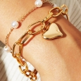 2-Piece Heart & Pearl Bracelet for $10