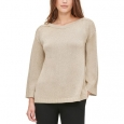 Calvin Klein Women's Button-Shoulder Metallic Sweater Brown Size Small for $119
