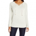 Calvin Klein Women's Lace-Up V-Neck Sweater White Size Small for $94