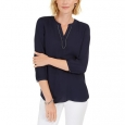 JM Collection Women's Split-Neck Tunic Blue Size Medium for $94
