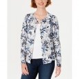 Karen Scott Women's Leaf-Print Cardigan Gray Size Small for $94