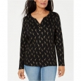 Karen Scott Women's Petite Giraffe-Print Henley Black Size Small for $23