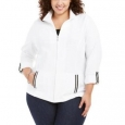 Karen Scott Women's Sport French Terry Ribbon-Trim Jacket White Size Mediunm for $94