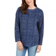 Karen Scott Women's Sport Printed Microfleece Top Blue Size Medium for $34