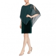 SL Fashions Women's Velvet Asymmetrical Cape Dress Green Size 12 for $119