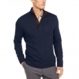 Tasso Elba Men's Supima Cotton Textured 1/4-Zip Sweater Blue Size XX-Large for $94