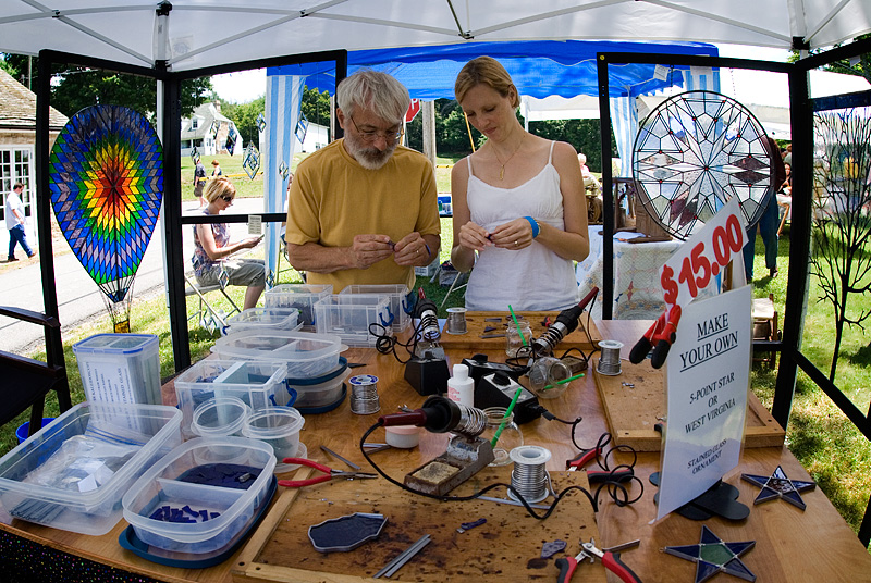 David Houser demonstrates stained glass making