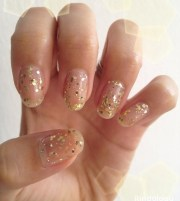 clear nails with glitter design