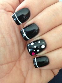 15 Black Nail Designs For Short Nails Images - Black Short ...