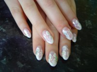 17 White Flower Nail Designs Images - Black and White Nail ...