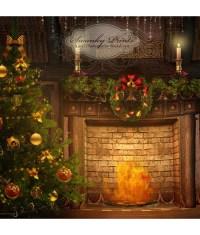 Vintage Christmas Fireplace Scene | www.topsimages.com
