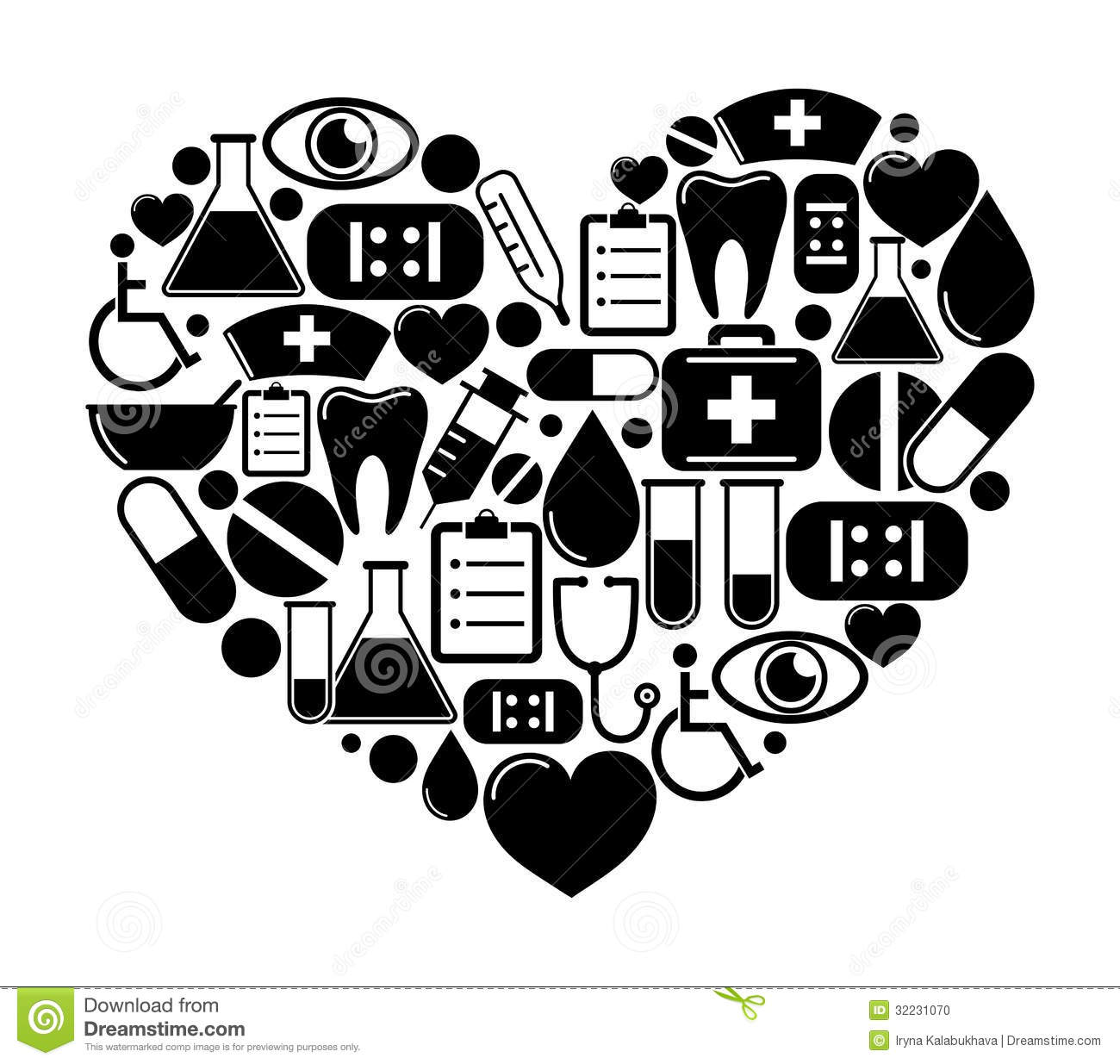 12 Heart Shaped Medical Vector Images