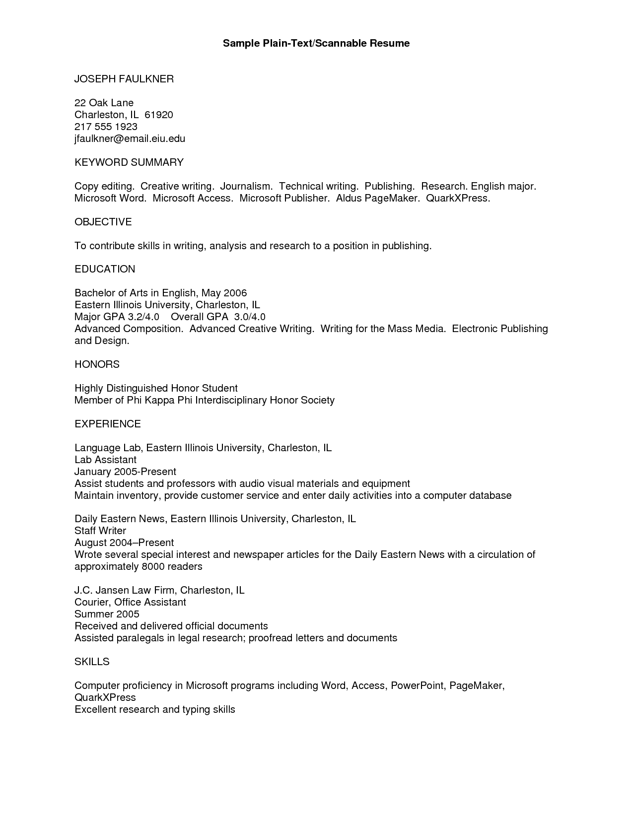 resume text template