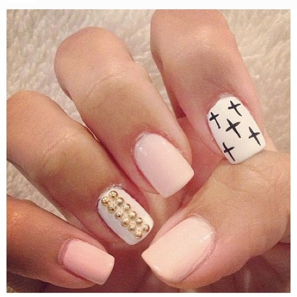 Pink Nail Designs With Crosses