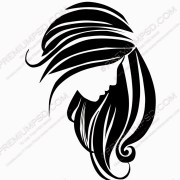 black hair vector art