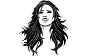 black hair vector art