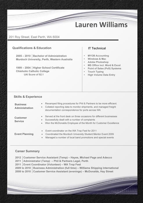 resume header template word