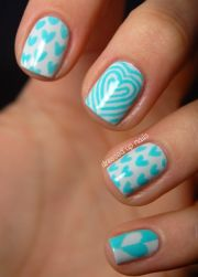 turquoise color nail design