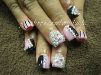 10 Blinged Out Acrylic Nail Designs Images - Blinged Out ...
