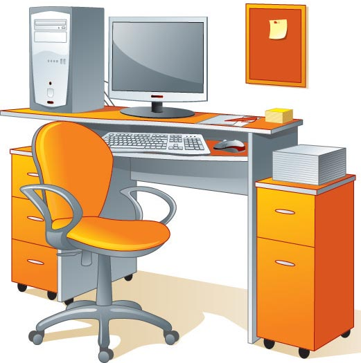vector desk and chairs