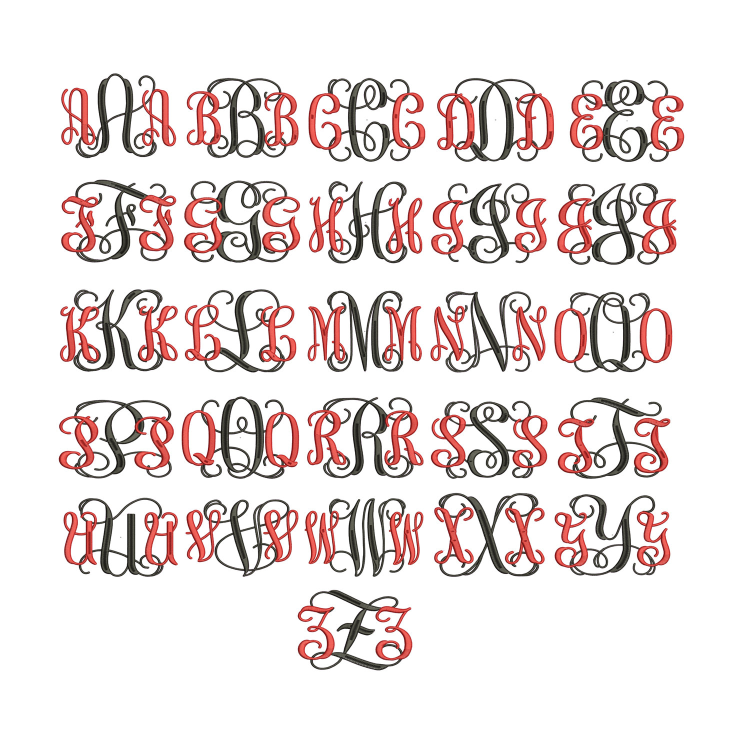 interlocking monogram embroidery font