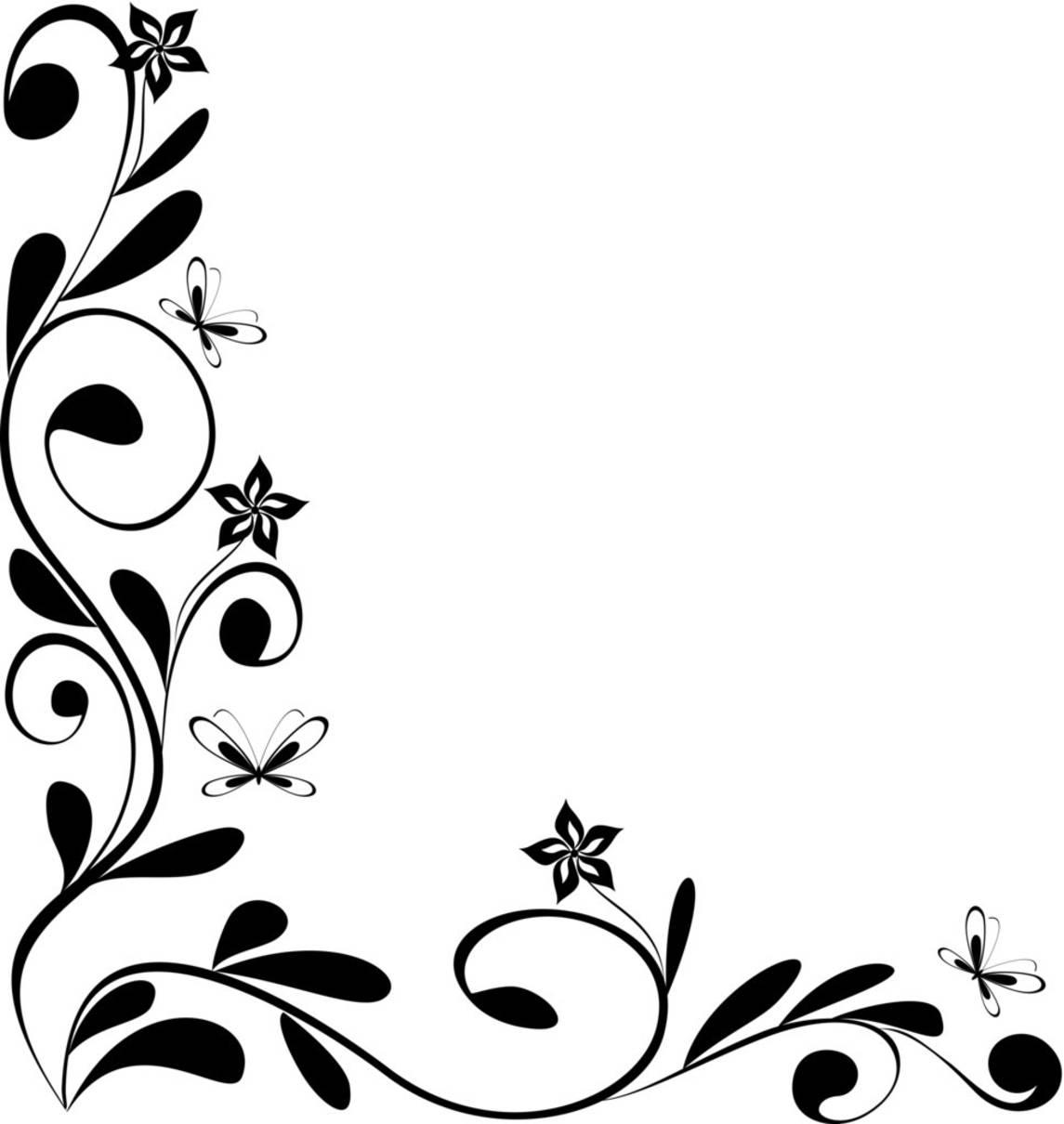 15 Black And White Flowers Corner Border Designs Images