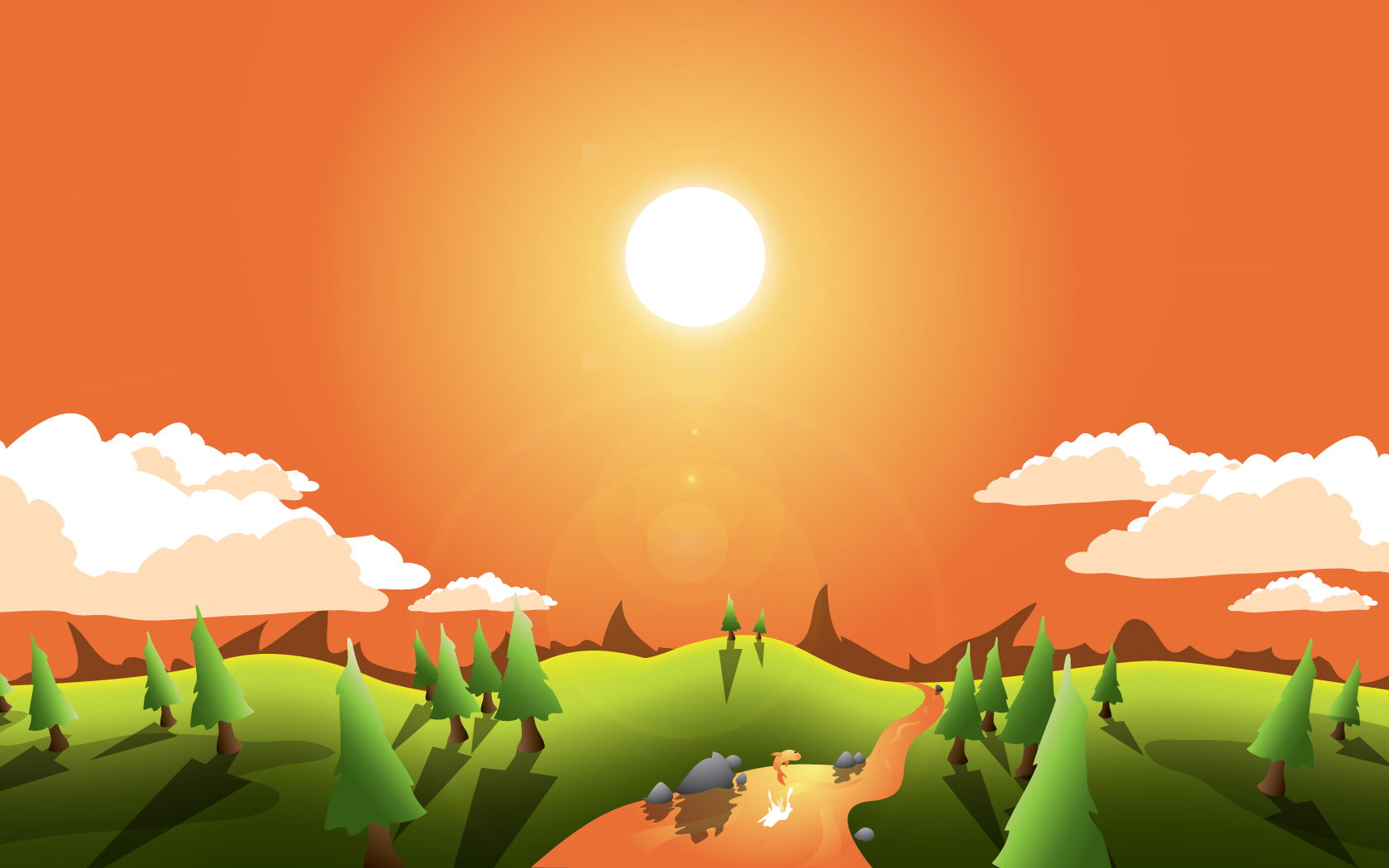 19 Vector Scenery Images Cute Cartoon Landscape Vector