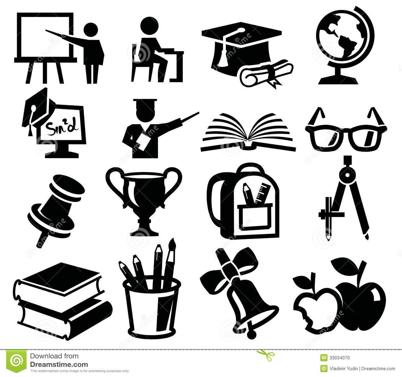 10 School Icon Black Vector Images